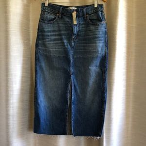 Madewell reconstructed midi denim skirt size 28